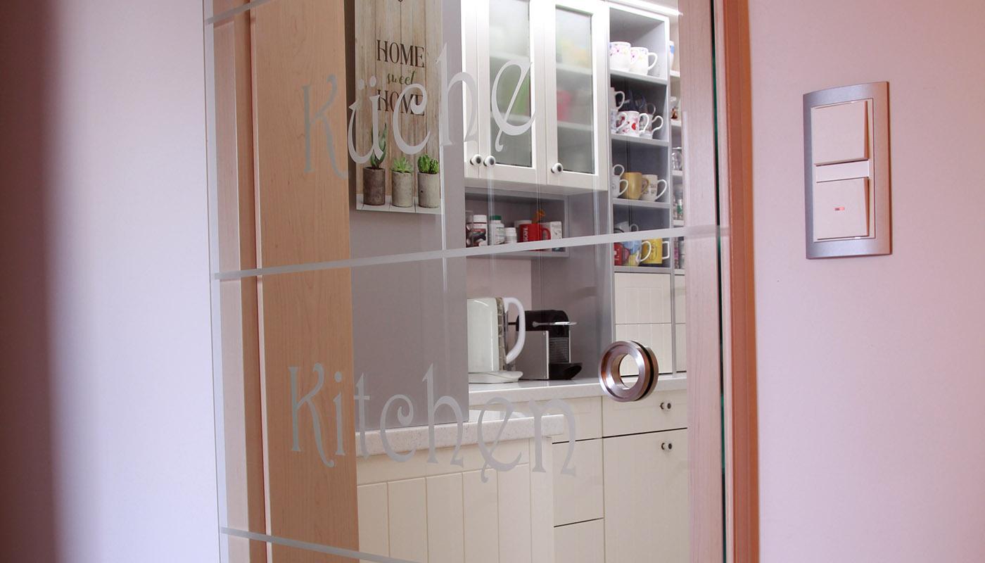 Tür - bedruckte Glastür